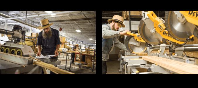 Amish workers building gazebos