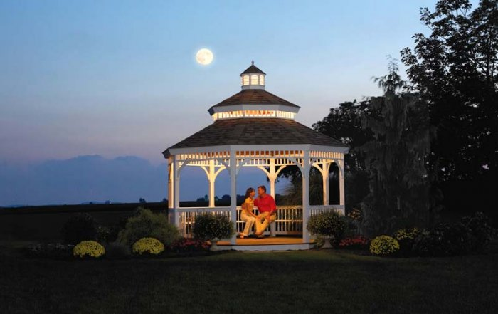 gazebo at night time