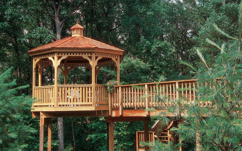 wood gazebo with bridge
