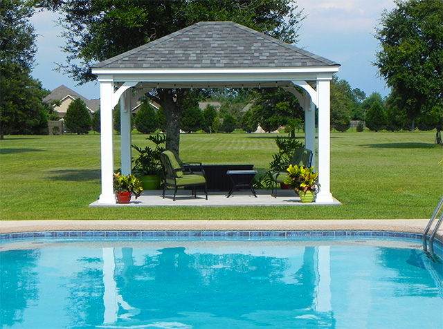 pavilion next to a swimming pool