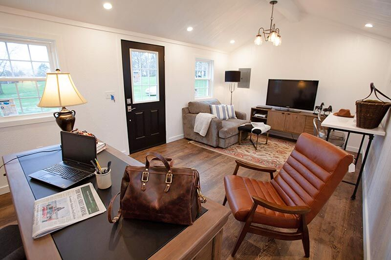 office inside of a tiny amish built home