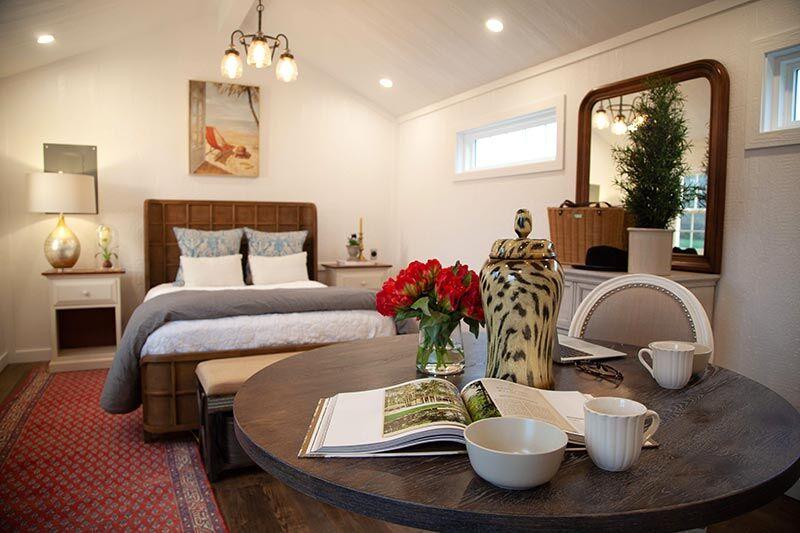 bedroom inside tiny amish built home