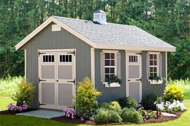 grey shed and garage