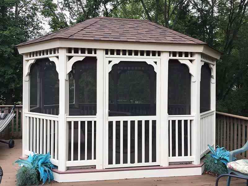 gazebo with screens on a porch