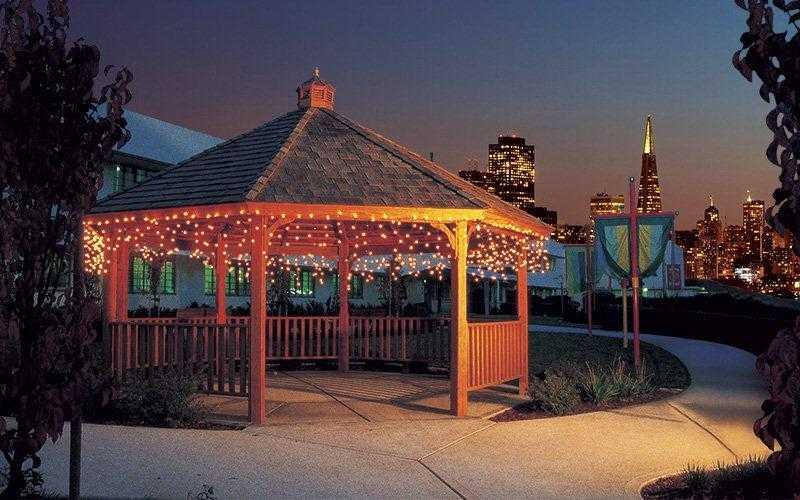 gazebo at night with christmas lights
