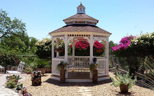 gazebo with pagoda in a garden